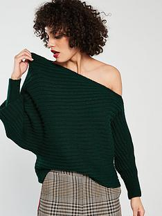 river-island-asymetric-jumper-green