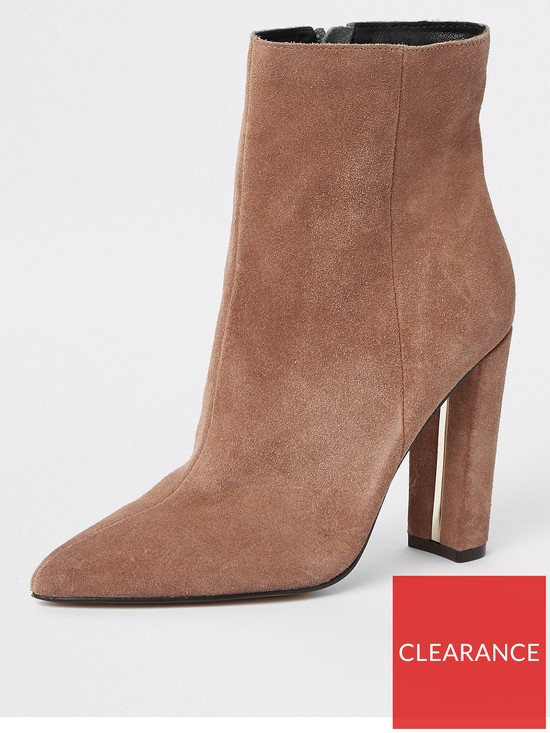 8dcadc9e011 River Island River Island Wide Fit Point Toe Ankle Boot - Camel ...