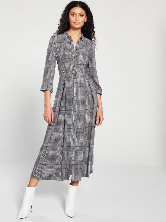 b99e6edc7a29 Warehouse Warehouse Houndstooth Check Midi Shirt Dress