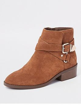 river-island-buckle-ankle-boot-tan