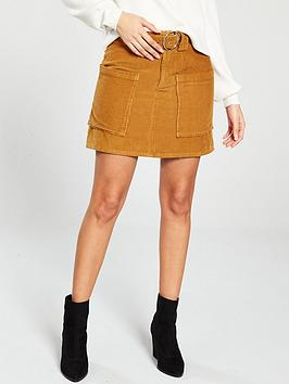 river-island-river-island-cord-belted-mini-skirt-brown