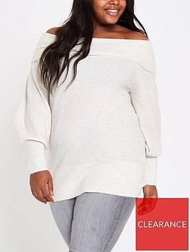 ri-plus-bardot-knit-jumper-cream