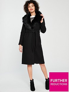 79d9f021f38 River Island River Island Faux Fur Collar Coat - Black