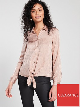 river-island-tie-front-shirt-pink-jacquard