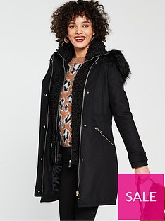 b4d09087a River Island River Island Double Layer Hooded Parka - Black