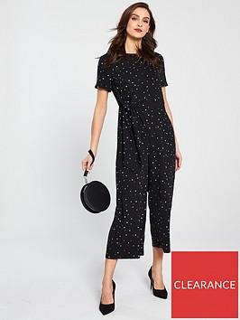 warehouse-estella-star-print-jumpsuit-black