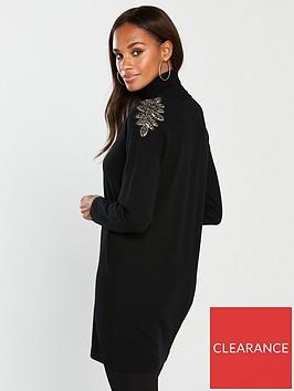 wallis-wallis-embellished-shoulder-polo-knit-tunic