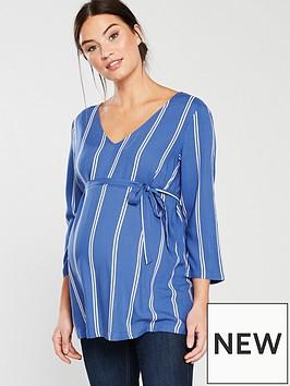 mama-licious-katy-three-quarter-maternity-woven-top-blue