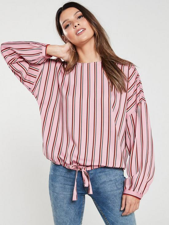 991a2b12fe12e Vero Moda Long Sleeve Tie Top - Pink