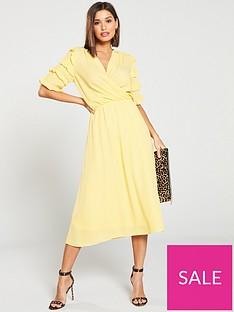 vero-moda-gabriella-ruffled-wrap-midi-dress-yellow