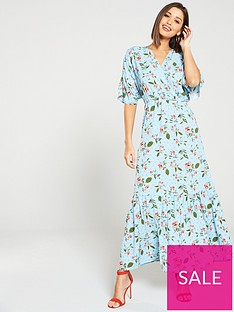 e9a2566d4f40 Vero Moda Ava Floral Print Fit and Flare Maxi Dress - Blue