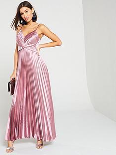 yas-karen-satin-pleated-midi-dress-pink