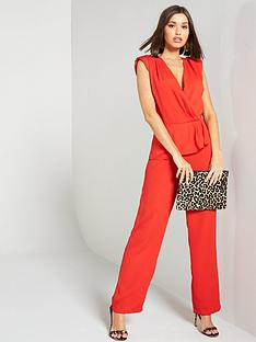 yas-jeannie-v-neck-ruffled-wide-leg-jumpsuit-ndash-red