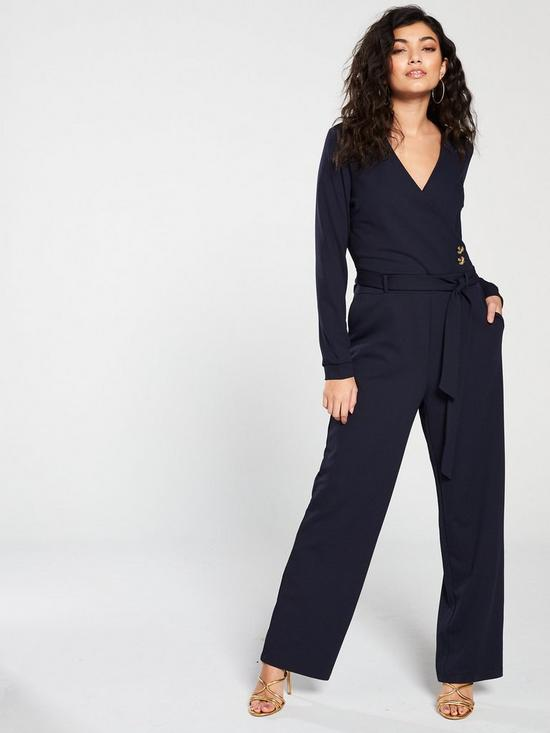 6936885ef31 Vero Moda Long Sleeve Jumpsuit with Button Detailing - Navy