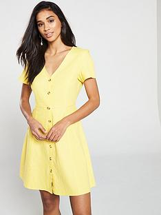 vero-moda-vero-moda-yellow-short-dress-with-v-neck-and-button-detailing
