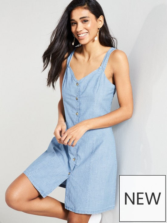 c374f8b6f243a6 Vero Moda Samantha Chambray Fitted Button Front Dress - Blue