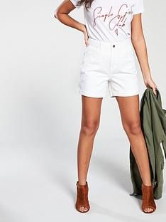 vero-moda-vero-moda-high-waisted-white-denim-shorts
