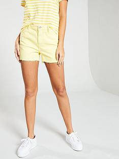 vero-moda-raw-hem-mid-rise-denim-shorts-ndash-yellow