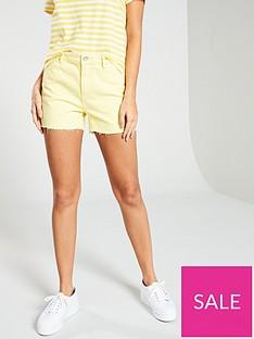 vero-moda-raw-hem-mid-rise-denim-shorts-ndash-yellow