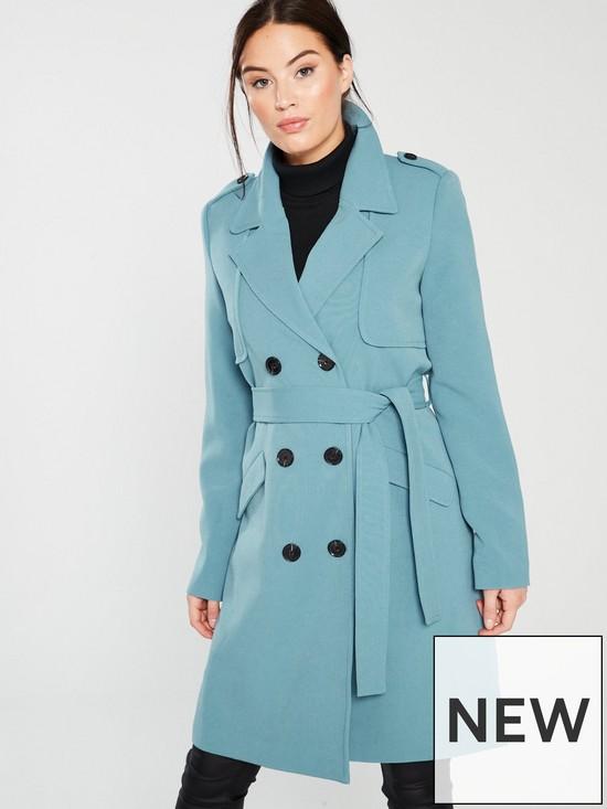 Vero Moda Trench Coat - Pale Blue  7dd0de05e7