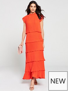 e563506ef46 Y.A.S Pleated Tiered Maxi Dress - Red