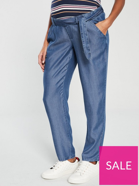 35923b3e23f45 Mama-Licious Lydia Loose Denim Maternity Trousers - Blue | very.co.uk