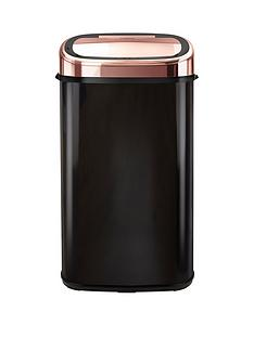 tower-linear-58-litre-square-sensor-bin-in-rose-gold-and-black-free-20-pack-of-bin-liners