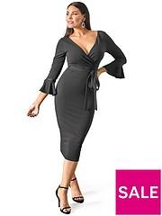 300f8285796bd5 Sistaglam Loves Jessica Fluted Sleeve Bodycon Wrap Dress - Black