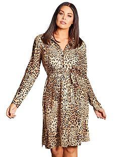 f3ed39dbb7c0bd Sistaglam Loves Jessica Tie Waist Shirt Dress - Animal Print