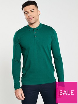 selected-homme-wave-textured-long-sleeve-polo-green