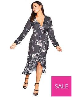 b8e8c1bd7ac6ef Sistaglam Loves Jessica Sistaglam Loves Jessica Wright Floral Print Wrap  Dress