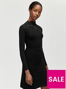 warehouse-warehouse-lace-high-neck-fit-and-flare-knitted-dress