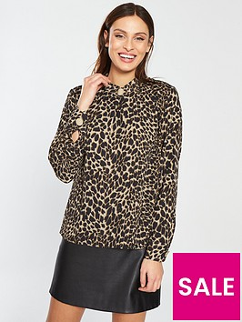 warehouse-leopard-print-button-neck-top