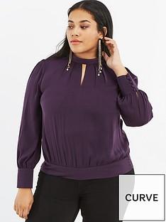 oasis-curve-keyhole-shirred-hem-top-dark-purple