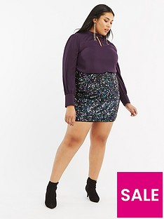 oasis-curve-sequin-tinsel-mini-skirt