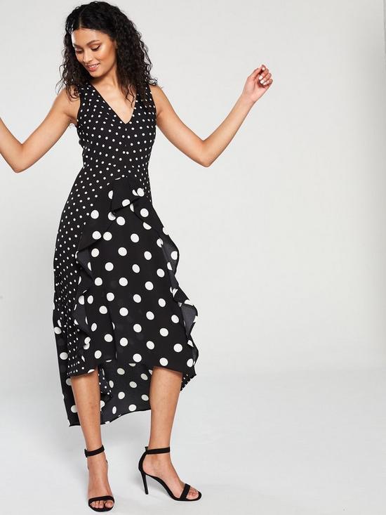 6d0d68f448702 AX Paris Polka Dot Frill Front Midi Dress - Black White