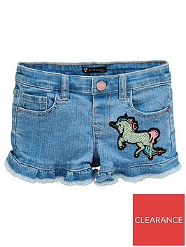 mini-v-by-very-girls-sequin-unicorn-and-star-denim-shorts-blue