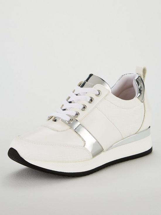 072afa6bd Carvela Justified Metallic Lace Up Crocodile Effect Trainers - White Silver