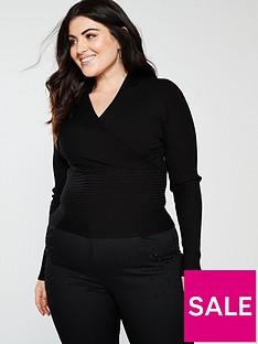 oasis-curve-mila-rib-wrap-jumper-black