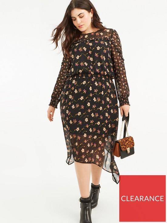 80e675b14dd9 Oasis Curve Freida Floral Chiffon Midi Dress - Black | very.co.uk