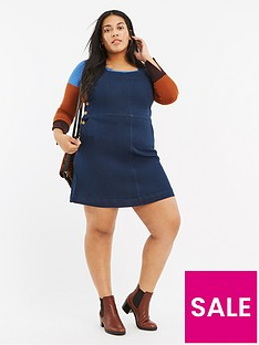 oasis-curve-oasis-curve-button-side-denim-pinny-dress