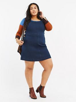 oasis-curve-oasis-curve-button-side-denim-pinny-dress