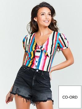 michelle-keegan-tie-front-co-ord-top-stripe