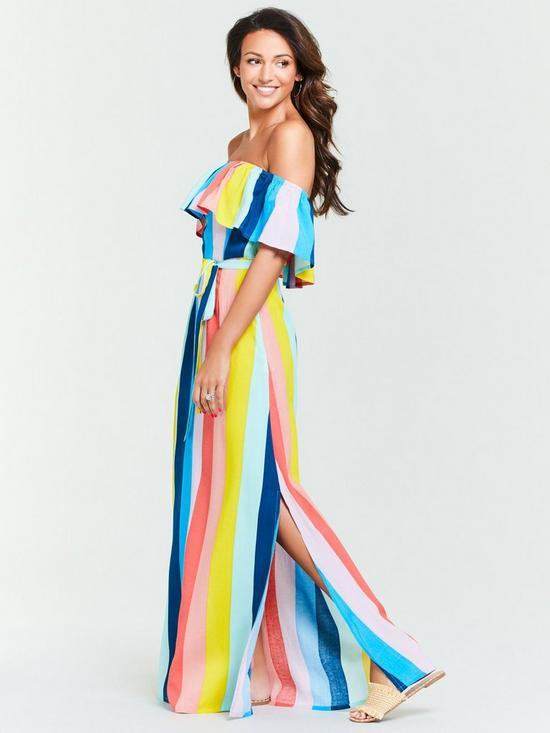 ae021a5f85c0e Michelle Keegan Cold Shoulder Stripe Maxi Dress - Multi | very.co.uk