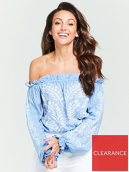 michelle-keegan-printed-bardot-top-blue