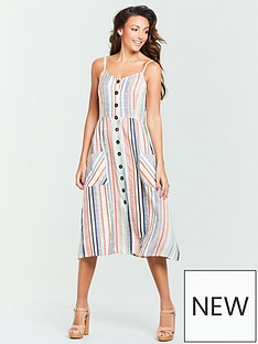 d6a97d388b Michelle Keegan Button Front Midi Dress - Stripe