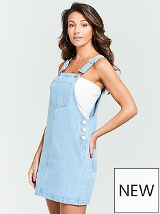 bc7bc56413a Michelle Keegan Denim Pinafore Dress - Light Wash