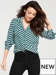 michelle-keegan-open-collar-woven-blouse-multi