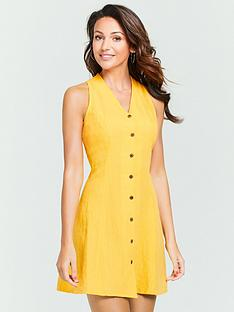michelle-keegan-linen-mini-dress-yellow