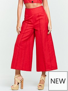 michelle-keegan-printed-linen-culottes-red